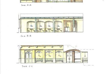 Sezioni, arredi progetto ristorante-Pub (pianta disegno 16)