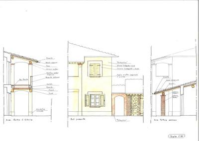 Particolari portico e facciata edificio ristrutturato