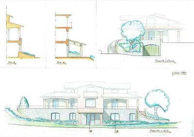 Studio per scala e tettoia su palazzina esistente