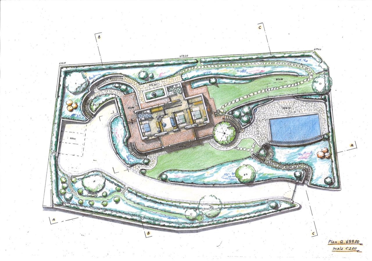 Giardino di villa con piscina su terreno a forte pendenza for Costruire un garage su un terreno in pendenza