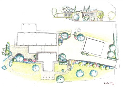Studio sistemazione porzione di giardino con progetto ampliamento