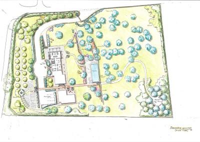 Studio di giardino di villa con piscina
