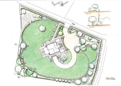 Studio per giardino e sistemazione viabilità per villa esistente