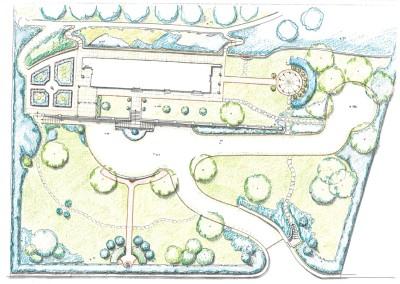 Studio per giardino con muro di contenimento e terrazzo