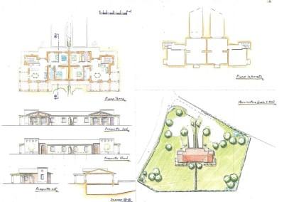 Studio per progetto bifamiliare ad un piano