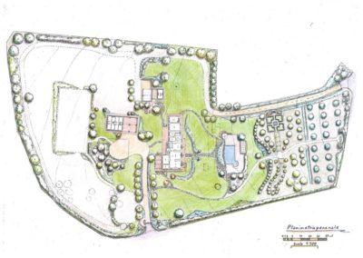 giardino di villa con annessi e piscina