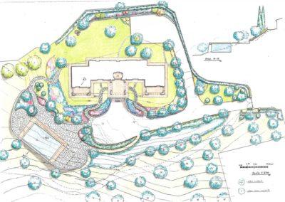 giardino progetto piscina villa bifamiliare