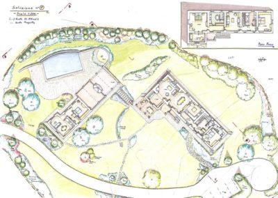giardino ristrutturazione colonica e annesso con piscina