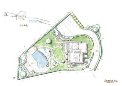 giardino villetta con piscina