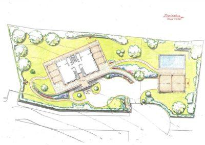 giardino palazzina bifamiliare con piscina