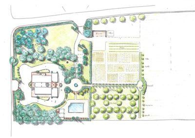 "giardino per palazzina ""liberty"" con piscina"
