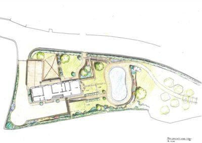 giardino di villa con piscina