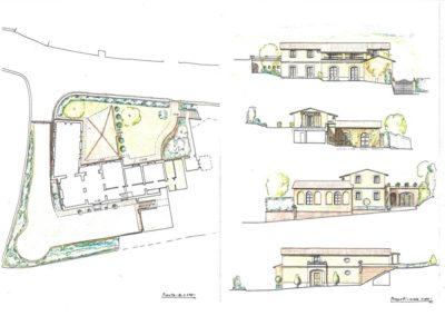 giardino di villa (pianta disegno 21) con sistemazioni muri contenimento