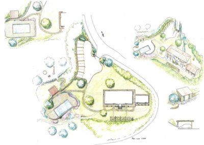 giardino con piscina edificio adibito a case vacanze