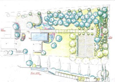 porzione di giardino con piscina