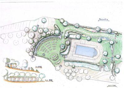 giardino con piscina e piccolo anfiteatro