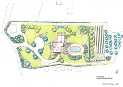 giardino villa con piscina