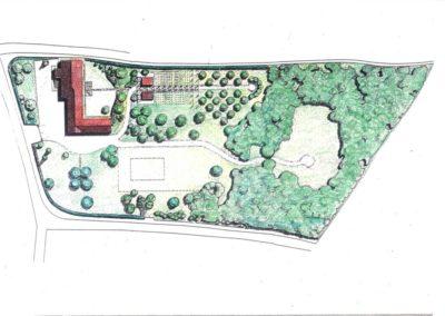 giardino di casa rurale con bosco