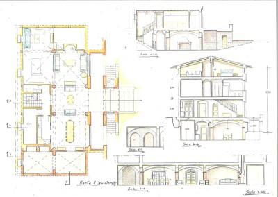 Piante sezioni con sistemazioni interne (prospetto disegno 04)