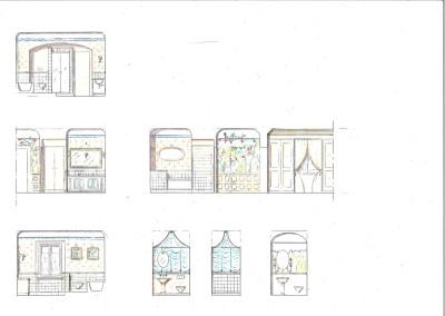 Studio per sezioni per arredo e decori palazzina storica
