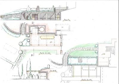 Studio per piante, prospetto, sezioni, pergolato con muro e servizi